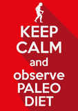 Flat design Keep Calm and observe Paleo Diet Stock Photos