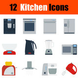 Flat design kitchen icon set Stock Image