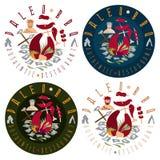 Flat design labels  for paleo food restaurant Royalty Free Stock Image