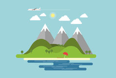 Flat design landscape with island with mountains, hills and beac. H by the sea and plane flying in the blue summer sky with sun and clouds stock illustration