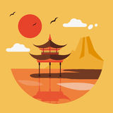 Flat Design Landscape of Japan Stock Image