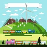 Flat Design Landscape with Trains royalty free illustration
