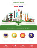 Flat design language school website header banner with webdesign elements Stock Image