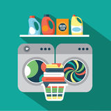 Flat design laundry room stock illustration