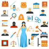 Flat Design Law And Justice Icons Royalty Free Stock Image