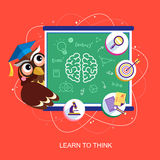 Flat design for learn to think concept Royalty Free Stock Photo