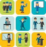 Flat design learning concept for education with graduates, teachers. Set of education concept with graduates, teachers, pupil, students in graduation gown and Royalty Free Stock Photo