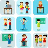 Flat design learning concept for education with school children, teachers Royalty Free Stock Photography