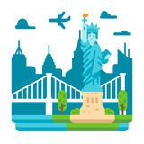 Flat design Liberty statue New York Royalty Free Stock Image