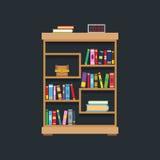 Flat design of library bookshelf Stock Image