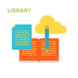 Flat design Library Icon. Cloud Service. Vector royalty free illustration
