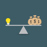 Flat Design Of Light Bulb And Moneybag On The Scale. Light Bulb and money bag on the scale Royalty Free Stock Photo