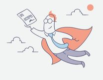 Flat line character design - businessman hero flying with signed contract royalty free illustration