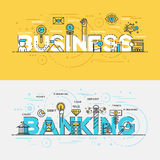 Flat design line concept banner- Business and Banking Royalty Free Stock Photography
