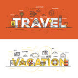 Flat design line concept banner - Travel And Vacation Royalty Free Stock Image