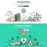 Flat design line concept -Environment and Power and Energy Stock Photo