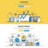 Flat design line concept - Investment and Finance. Set of Flat Line Color Banners Design Concepts for Finance and Investment. Concepts web banner and printed Stock Images