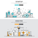 Flat design line concept - Start up & Analysis Stock Photos
