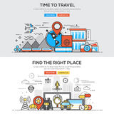 Flat design line concept -Time to travel Stock Photography