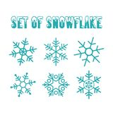 Flat design line snowflakes vector Christmas and new year decoration element set. Vector illustration vector illustration