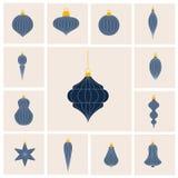 Flat design lined Christmas baubles set vector illustration