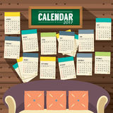 Flat Design Living Room 2017 Printable Calendar Starts Sunday. Vector Illustration Royalty Free Stock Photography