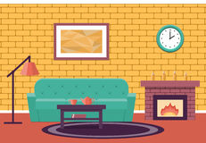 Flat design living room. Vector graphic. Room interior. Vector. Living design lounge. Cartoon background in flat design with fireplace and sofa Stock Images