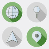 Flat design location traveling icons with long shadow. An illustration with different location traveling icons style flat design for user interface Royalty Free Stock Image