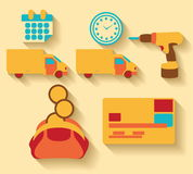 Flat design Logistic and cargo icons Stock Photo