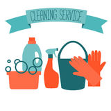 Flat design logo for cleaning service. Stock Image