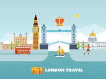 Flat design of London city. Historical and modern building. Stock Photography