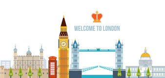 Flat design of London city. Historical and modern building. Royalty Free Stock Photo