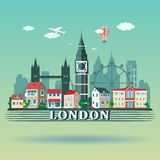 Flat design London City landscape. Modern colored London city skyline Stock Photos