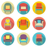 Flat Design Long Shadow Effect Sofa Icons Set Stock Photography
