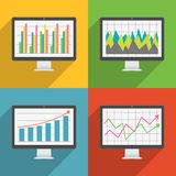 Flat design long shadow icons of computer display with financial charts and graphs. Vector EPS10 Royalty Free Stock Images