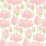 Flat design lotus lilies decorative seamless pattern.. Vector illustration Stock Photo