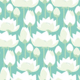 Flat design lotus lilies decrataive seamless pattern. Royalty Free Stock Image