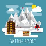 Flat design lpanoramic andscape of skiing resort. Isolated on blue background Stock Photography