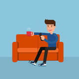 Flat design. Man on sofa relax online activity. Cartoon Vector Illustration Stock Images