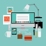 Flat design mans workspace items EPS 10 vector. Royalty free stock illustration for ads, marketing, poster, flyer, blog, article, social media, signage, web Royalty Free Stock Photo