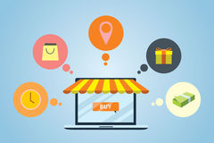 Flat design of Market. Shop around of items Royalty Free Stock Photo