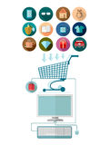 Flat design marketing illustration with computer join with shopping cart and set of icons Royalty Free Stock Photography
