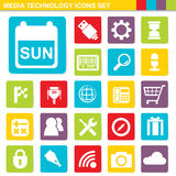 Flat design media technology icons set Stock Photography