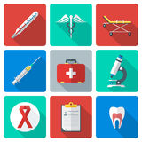 Flat design medical icons set. Vector various color flat style medical icons with shadow Stock Photography