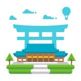 Flat design Meiji shrine Tokyo. Illustration vector Royalty Free Stock Photo