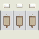 Flat Design Men's Urinal Row Royalty Free Stock Images