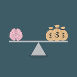 Flat design of Mind And Moneybag On The Scale. Mind and moneybag on the scale Stock Photo