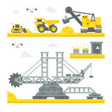 Flat design mining site equipment Royalty Free Stock Photo