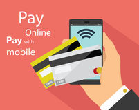 Flat design of mobile payment technology Stock Photo
