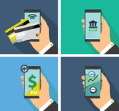 Flat design of mobile payment technology Stock Photography
